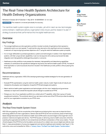 ThoughtWire Real-Time Health System - Gartner